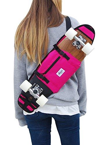 (SKATE HOME Backpack, Shoulder Bag 26 27 inches Cruiser Skateboard. Pink)