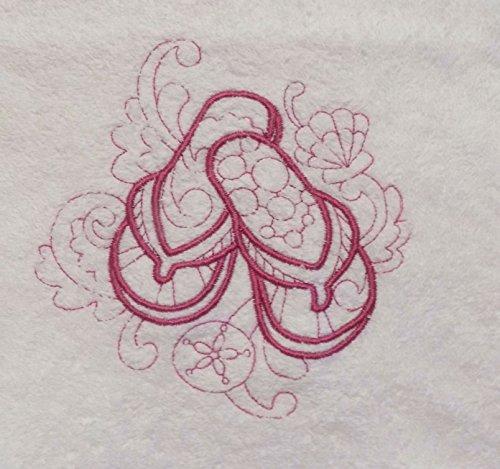 Dark Pink Flip Flops Sandals Beach Seashells Embroidered Hand Towel