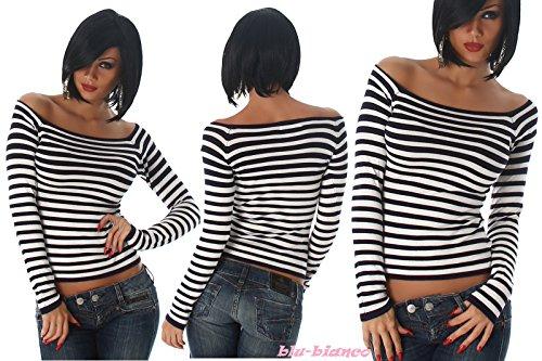 IL BAZAR - Camiseta de manga larga - Rayas - Manga larga - para mujer azul marino / blanco
