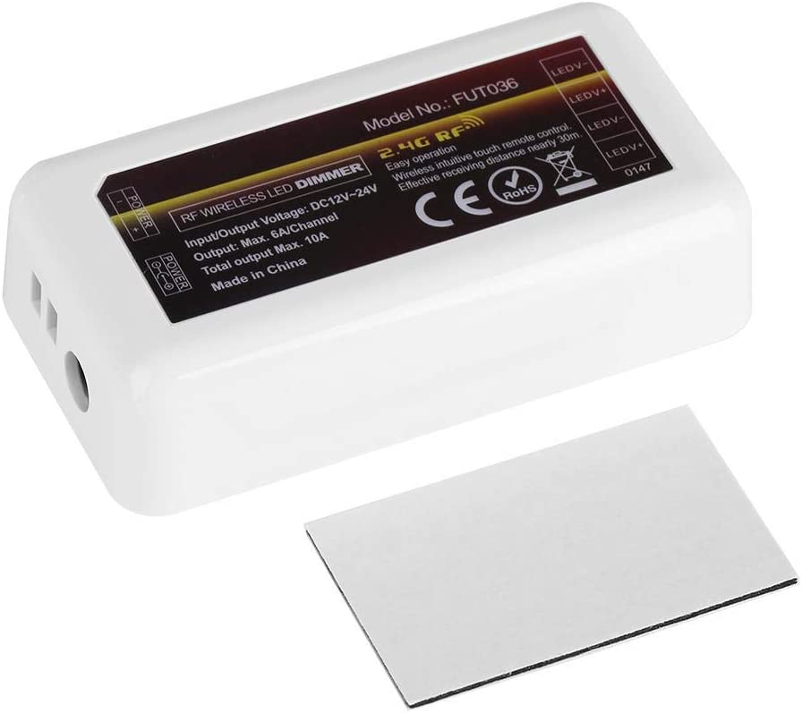 Zerodis Regulador de Tira de luz LED, Mi-Light 4-Control Remoto de WiFi de un Solo Color Dimmer Regulador de Tiras para Tira Blanca Dual Controller FuT036
