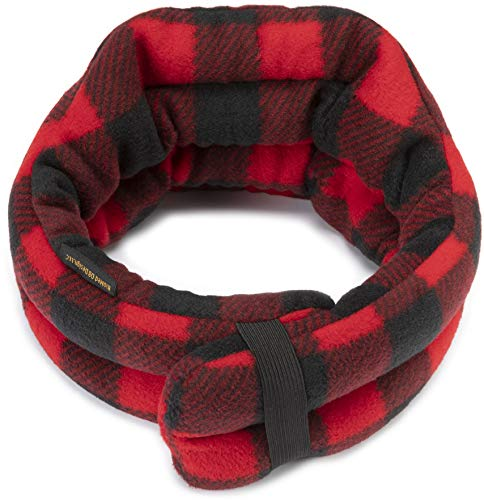 Hands-Free Neck Heating Wrap: Microwavable Thermal Hot Pack, Large Heat Therapy Pillow for Sore Neck & Shoulder Muscle Pain Relief - Personal, Reusable (Buffalo Plaid)