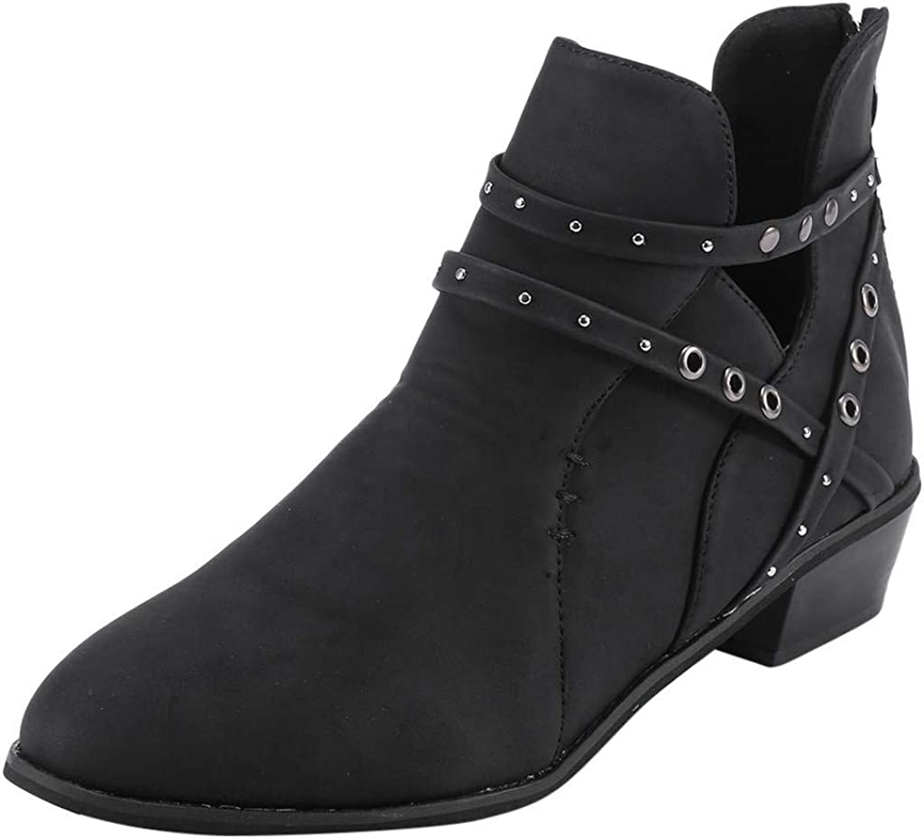 Nevera Boots for Women Low Heel Western Pointed Toe Solid Color Cut Out Ankle Booties Black