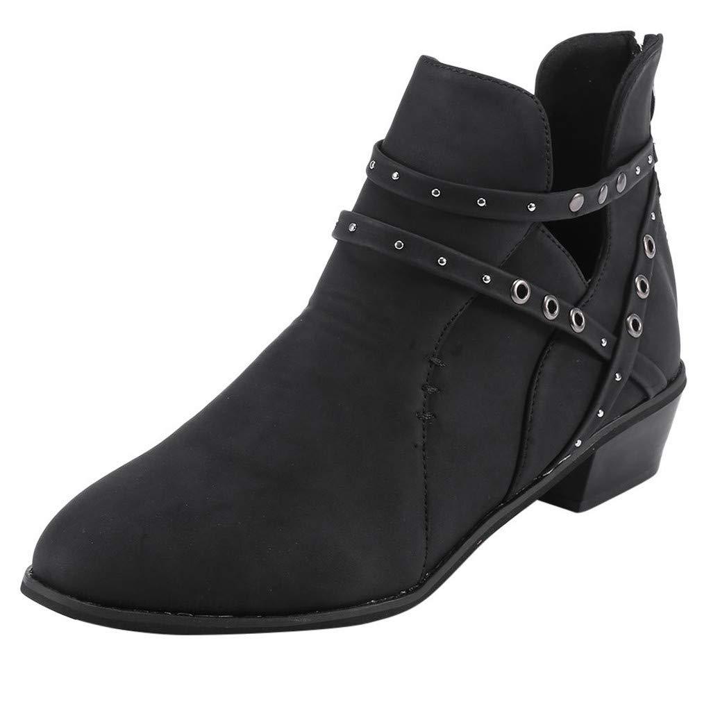 【MOHOLL 】 Women Suqare Heels Zipper Rivets Short Boot Solid Color Hollow Single Shoes Low Heel Booties Black