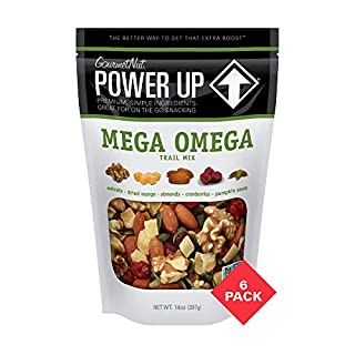 Power Up Trail Mix, Mega Omega Trail Mix, Non-GMO, Vegan, Gluten Free, No Artificial Ingredients, Gourmet Nut, 14 oz Bag, Green (6 Pack)