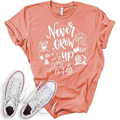 Never Grow Up Shirt | Women's Shirt | Unisex Shirt | Cute Shirt Vacation | Holiday Shirt (Small, Sunset)]()