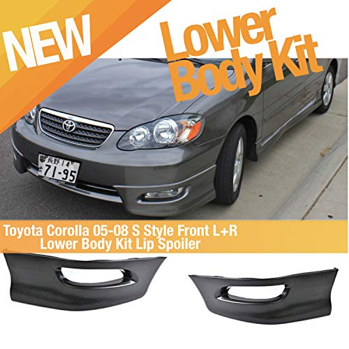 Dealsplaza Toyota Corolla 05-08 S Style Front L+R Lower Body Kit Lip Spoiler PP Black