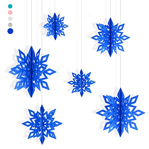 Proboths Paper Snowflake Ornaments Hollow Snowflake Garland Hanging Decorations for Christmas Party 6PCS Blue -