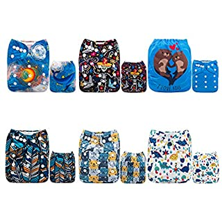 ALVABABY Cloth Diaper, One Size Adjustable Washable Reusable for Baby Girls and Boys 6 Pack with 12 Inserts 6DM66