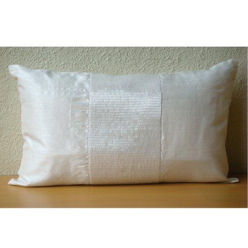 amazoncom luxury blue lumbar pillow cover metallic beaded centered sparkly lumbar pillow cover 12x16 lumbar pillow cover rectangle silk lumbar pillow - Decorative Lumbar Pillows