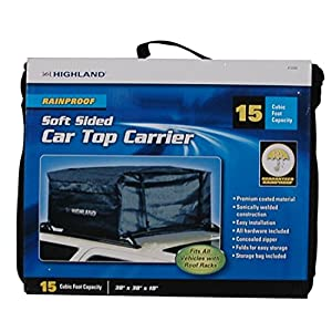 Highland 1038900 Black 15 cu.ft. Rainproof Car Top Bag with Storage Sack