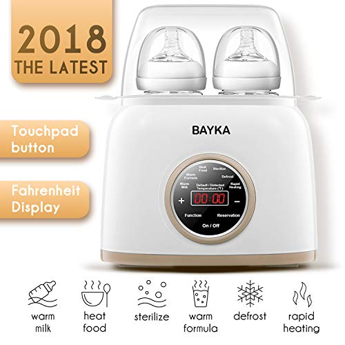 Bottle Warmer & Sterilizer, BAYKA 6-in-1 Baby Bottle Warmer with Rapid Heating Warm Milk Formula Heat Food Defrost, Real-time Temperature Accurate Temperature Control Fit Most Brands Baby Bottles