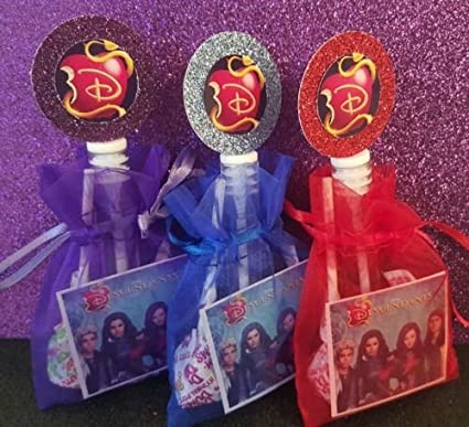 12 Disney Descendants Birthday Party Favor Goody Bags Gift Movie Box Treat Loot Candy Stickers Mal Carlos Evie Jay Costume Halloween