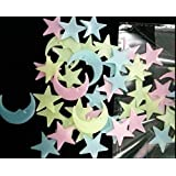 Rangoli Plastic Glowing Night Sky Wall Sticker Radium Glow Stars Starry Sky with Moon(3 cm x 3 cm x 1 cm, Green,Set of 100)