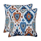 Pillow Perfect Outdoor   Indoor Paso Azure 18.5-inch Throw Pillow (Set of 2), Blue