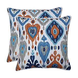 Pillow Perfect Outdoor | Indoor Paso Azure 18.5-inch Throw Pillow (Set of 2), Blue