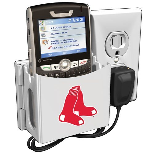 (Boston Red Sox White Socket Pocket Wallplate Charging Station)