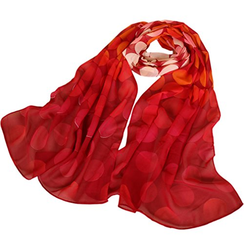 (LMVERNA Women's polka dot scarfs Flowers Birds Printed Scarf Floral Chiffon silk Scarves (Red))