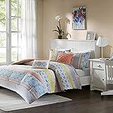 Intelligent Design Joni Comforter Set Full/Queen Size - Coral, Blue, Bohemian Pattern – 5 Piece Bed Sets – Ultra Soft Microfiber Teen Bedding For Girls Bedroom