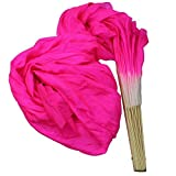 Sealike Hot Pink 1.8M Hand Made Belly Dance Dancing Silk Bamboo Long Folding Fans Veils with a Stylus
