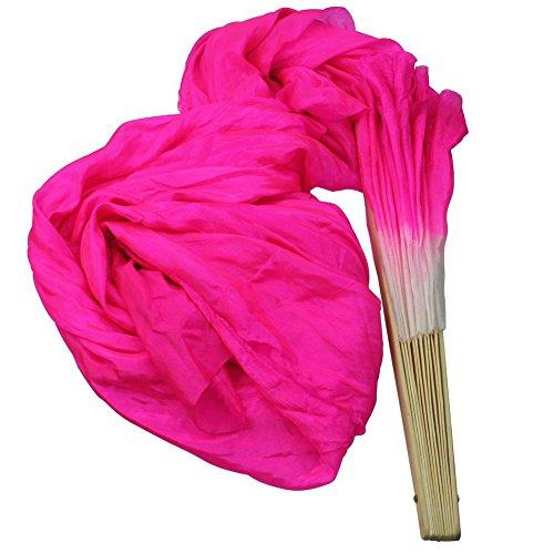 - Sealike Hot Pink 1.8M Hand Made Belly Dance Dancing Silk Bamboo Long Folding Fans Veils with a Stylus