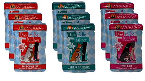 Weruva Dogs In The Kitchen Grain Free Dog Food 3 Flavor Variety 9 Pouch Bundle: (3) Funk In The Trunk, (3) The Double Dip, and (3) Fowl Ball, 2.8 Oz. Ea. (9 Pouches Total) ()
