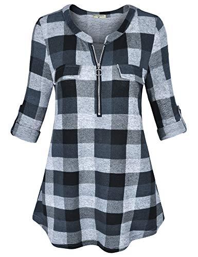 Black Button Tab Pencil Skirt - Derminpro Comfy Tunic for Leggings, Womens Round Neck Long Sleeve High Waist Soft Knit Plain Zip up Nursing Shirts Grey Medium
