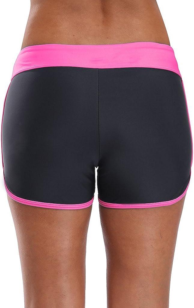 Sociala Womens Sporty Swim Shorts Solid Board Shorts Boyleg Swim Bottoms