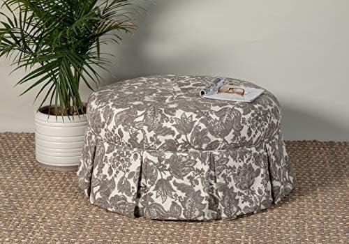 Leffler Home Ava Round Pleated Upholsterd Eloise Fog ottoman large Gray and Ivory