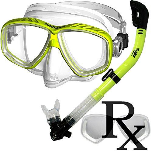 Prescription Purge Mask Dry Snorkel Snorkeling Scuba Diving Combo Set, Yellow