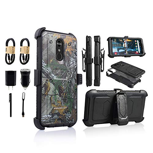 LG Stylo 4 Rugged Case, [360 Degree Protection] [Kick-Stand] Full-Body Heavy Duty Case with [Built-in-Screen Protector] [Belt Clip Holster] for LG Stylo 4 [Value Bundle] (Camo) ()