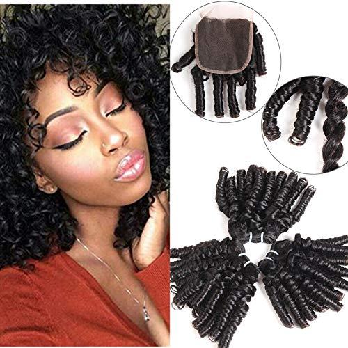 YAMI 8 inch 3 Bundles Brazilian Funmi Hair Bundles with Closure Funmi Spring Loose Wave Bouncy Curly Romance Curl Human Hair Bundles Brazilian Human Hair Extensions(8 8 8 + 8