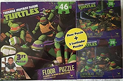 Teenage Mutant Ninja Turtles 3 Ft Floor Puzzle Plus Two 9 X 6 Lenticular Puzzles By Cardinal Industries