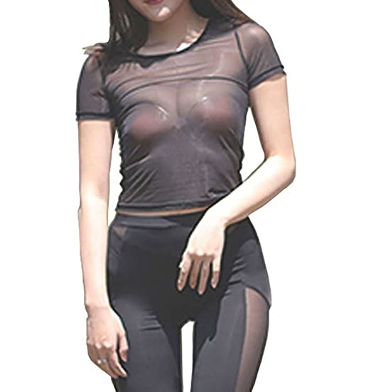 57704f1c5a1a0 Amazon.com  Zukzi Womens Sexy Short Sleeve Mesh Top See Through Crop ...