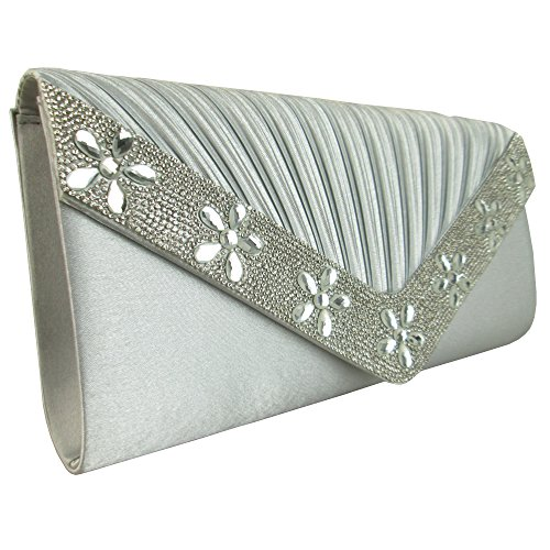 Satin Bridesmaid Envelope Party Ladies Bags Pleated Gems Silver Bridal Floral Evening For Diamante Clutch Xardi London Wedding Sparkling Women Party wSp7Pvqx
