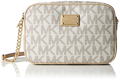 Michael Kors  Women's Jet Set Crossbody Leather Bag, Beige, Large