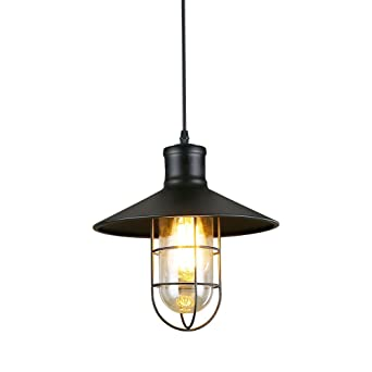 Industrial pendant light ivalue vintage barn pendant light with cage industrial pendant light ivalue vintage barn pendant light with cage lamp shade e26 metal black hanging mozeypictures Image collections