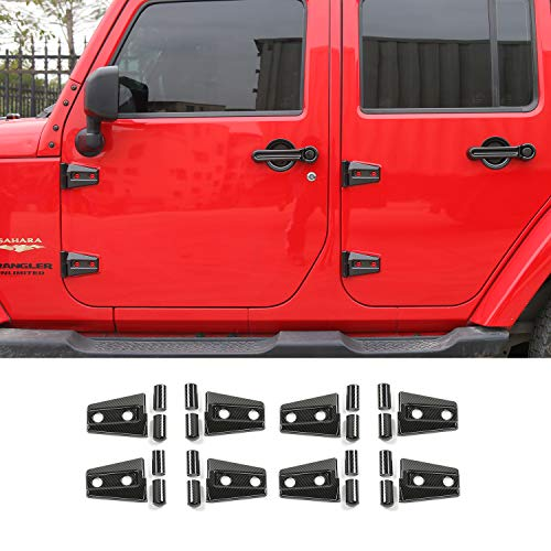 RT-TCZ Carbon FiberJeep Door Accessories Door Hinge Cover for 2007-2018 Jeep JK Wrangler Unlimited 4 Door (8PCS)