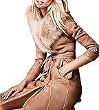 Hego Women's 2016 Brown Collar Slim Long Sleeve Faux Fur Warm Coat H2994 (S, Brown)