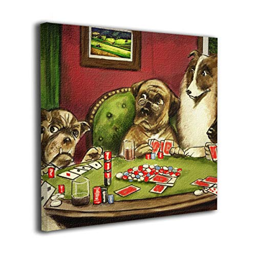 Anonymous Guest Square Frameless Painting Dogs Playing Poker Kids Room Home Decor for Living Room Kitchen Ready to Hang