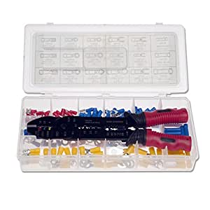 Neiko 50413A Insulated Wire Terminals and Connectors Assortment with 3-in-1 Wire Stripper, Cutter and Crimper Tool   175-Piece Set