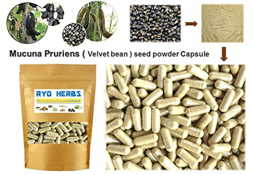 100 Capsules of 100% natural Mucuna Pruriens seeds powder Capsules 400mg. ( Velvet bean seed in Capsules ) Herbal Herb benefits Sex brain L-DOPA
