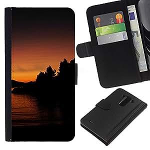Lago Sunset - la tarjeta de Crédito Slots PU Funda de cuero Monedero caso cubierta de piel Para LG G3