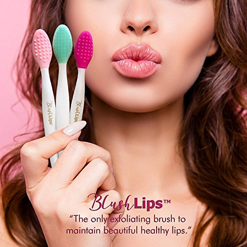 Lip Brush (BlushLips, 2-1 Double-Sided Silicone Exfoliating Lip Brush Tool, for Smoother and Fuller Lip Appearance. (Blue))