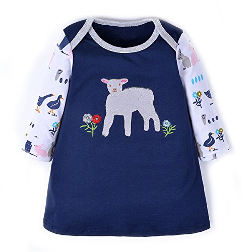Baby Girls Sheep Casual Long Sleeve Dresses, Cotton T-Shirt Dress For (Horse Chick)