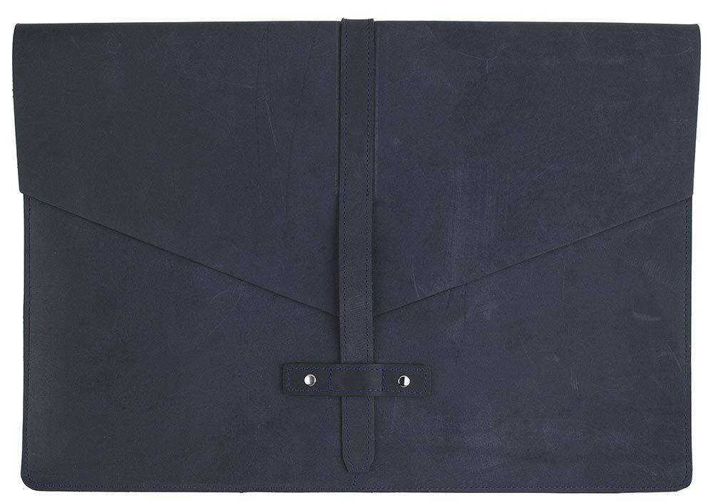 "SLATE COLLECTION Belltown Laptop Sleeve, Full-Grain Leather (Indigo, fits 15"" Laptop)"