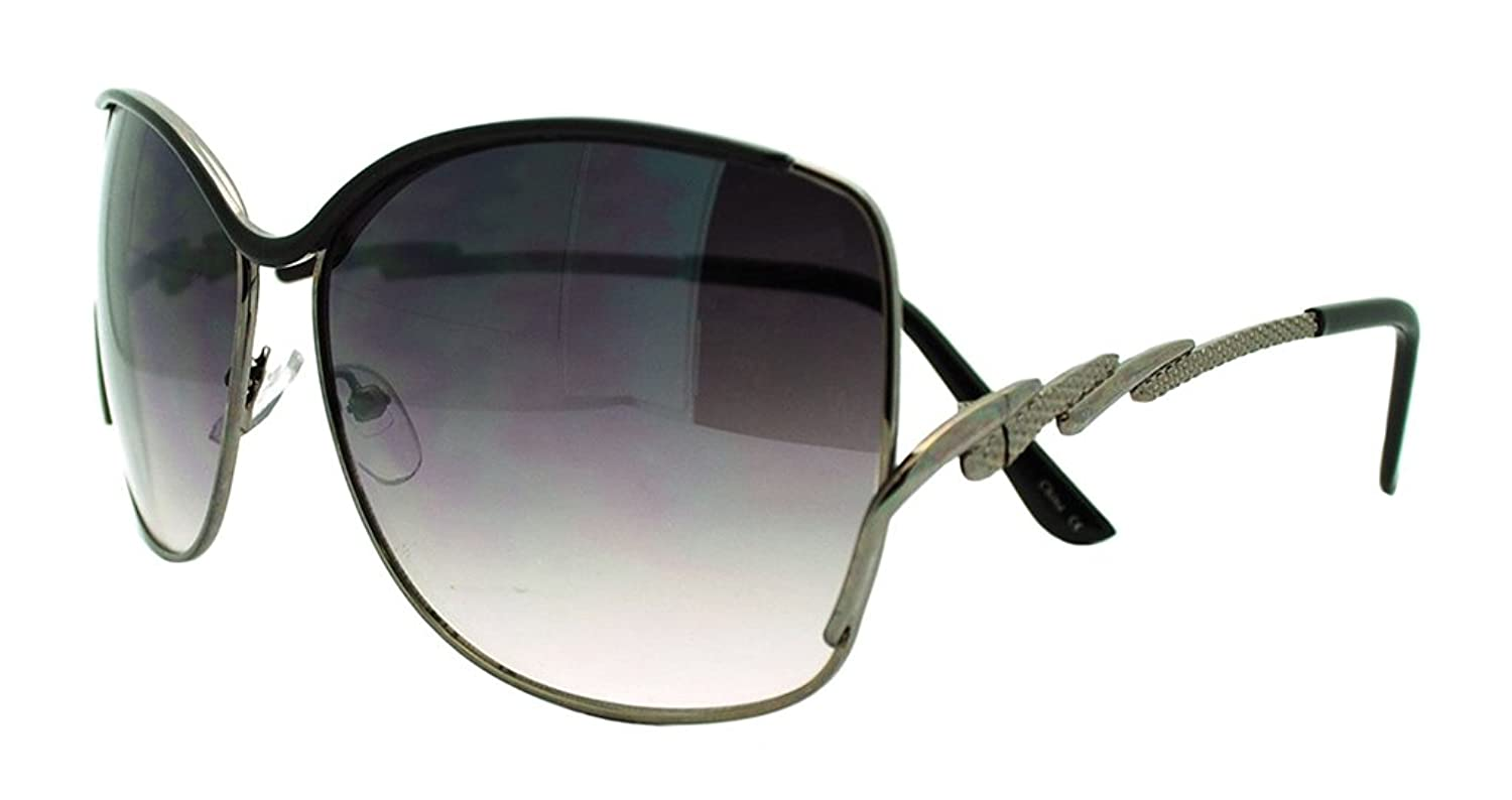 Brand-New Womens Metal Frame Butterfly Oversized Fashion-Black