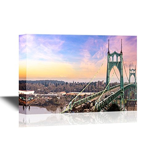 wall26 - Bridge Canvas Wall Art - St Johns Bridge in Portland Oregon Over Willamette River with Mt St Helens View - Gallery Wrap Modern Home Decor | Ready to Hang - 24x36 inches -