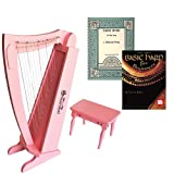 Pink 15 String Beginners Harp w/ bench + Book Bundle Early Music for the Harp & Basic Harp For Beginners