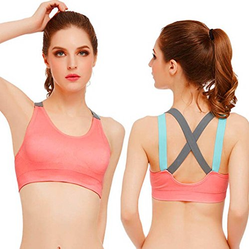 HOT!Sports Yoga Vest ,Beautyvan Comfortable Fashion Women Sport Gym Yoga Workout Bra Running Padded Fitness Tops Vest,Non-adjusted Straps (S, Pink)