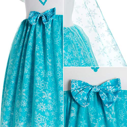 Princess Elsa Costume Birthday Party Dress for Toddler Girls 4-5 Years (4T 5T)
